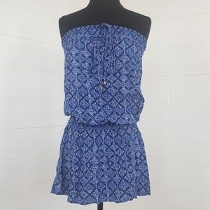 Forever 21 Dresses - F21 Halter Strapless Blue Print Vacation Dress